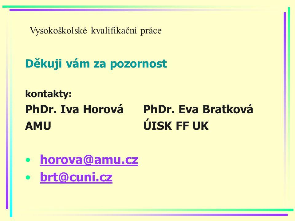 Děkuji vám za pozornost kontakty: PhDr. Iva HorováPhDr.