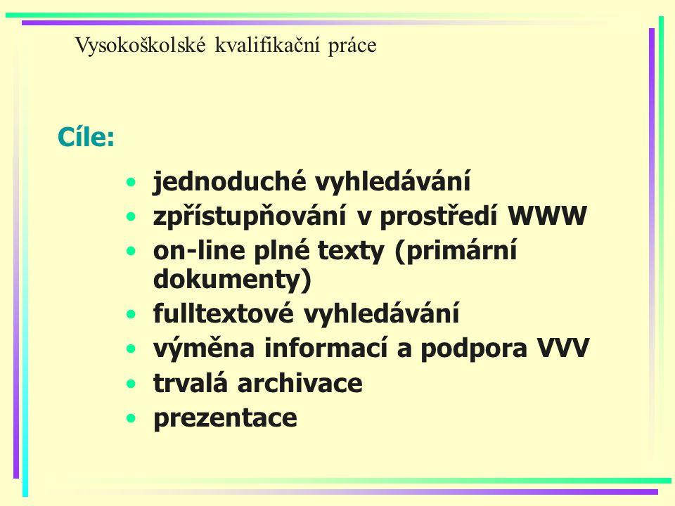 Cíle: jednoduché vyhledávání zpřístupňování v prostředí WWW on-line plné texty (primární dokumenty) fulltextové vyhledávání výměna informací a podpora VVV trvalá archivace prezentace Vysokoškolské kvalifikační práce