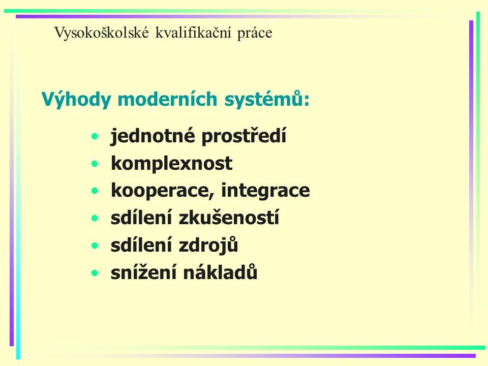 Výhody moderních systémů: jednotné prostředí komplexnost kooperace, integrace sdílení zkušeností sdílení zdrojů snížení nákladů Vysokoškolské kvalifikační práce