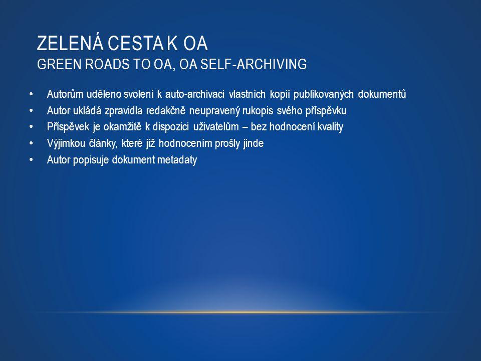 ZELENÁ CESTA K OA GREEN ROADS TO OA, OA SELF-ARCHIVING Autorům uděleno svolení k auto-archivaci vlastních kopií publikovaných dokumentů Autor ukládá z