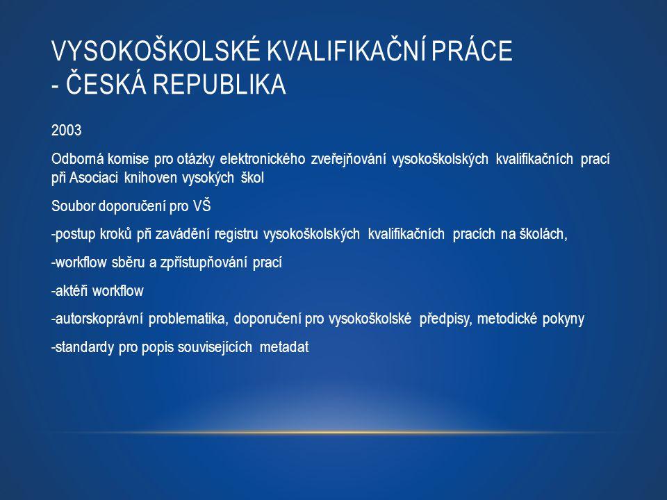VYSOKOŠKOLSKÉ KVALIFIKAČNÍ PRÁCE - ČESKÁ REPUBLIKA 2003 Odborná komise pro otázky elektronického zveřejňování vysokoškolských kvalifikačních prací při