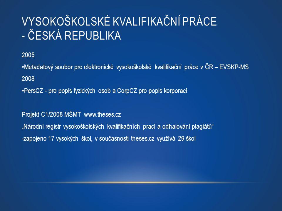 VYSOKOŠKOLSKÉ KVALIFIKAČNÍ PRÁCE - ČESKÁ REPUBLIKA 2005 Metadatový soubor pro elektronické vysokoškolské kvalifikační práce v ČR – EVSKP-MS 2008 PersC
