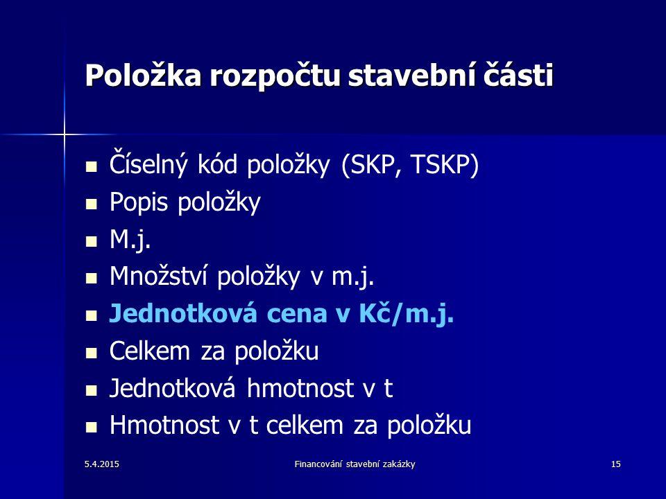 Položka rozpočtu stavební části Číselný kód položky (SKP, TSKP) Popis položky M.j.