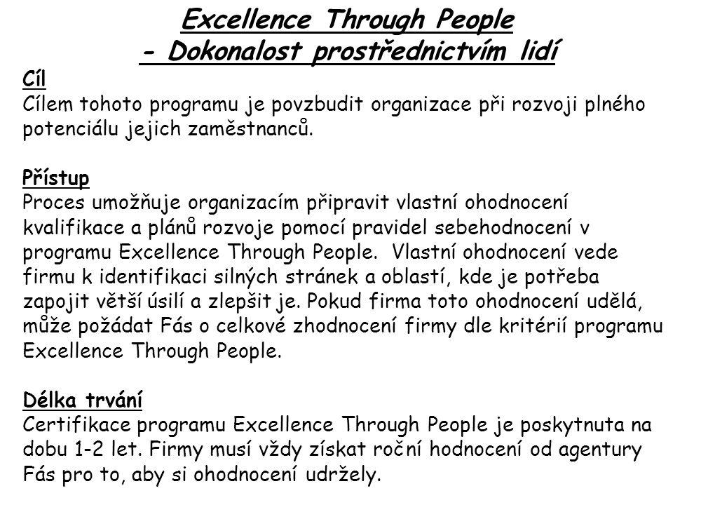 Excellence Through People - Dokonalost prostřednictvím lidí Cíl Cílem tohoto programu je povzbudit organizace při rozvoji plného potenciálu jejich zaměstnanců.