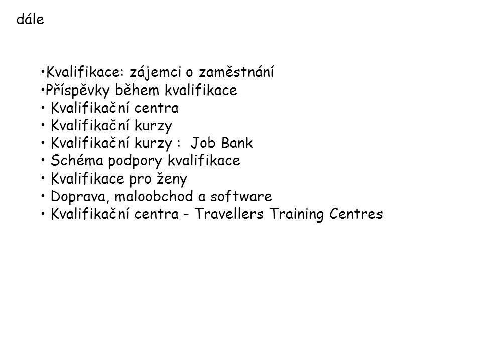 dále Kvalifikace: zájemci o zaměstnání Příspěvky během kvalifikace Kvalifikační centra Kvalifikační kurzy Kvalifikační kurzy : Job Bank Schéma podpory kvalifikace Kvalifikace pro ženy Doprava, maloobchod a software Kvalifikační centra - Travellers Training Centres