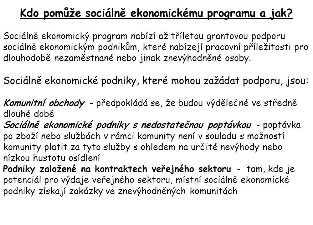 Kdo pomůže sociálně ekonomickému programu a jak? Sociálně ekonomický program nabízí až tříletou grantovou podporu sociálně ekonomickým podnikům, které