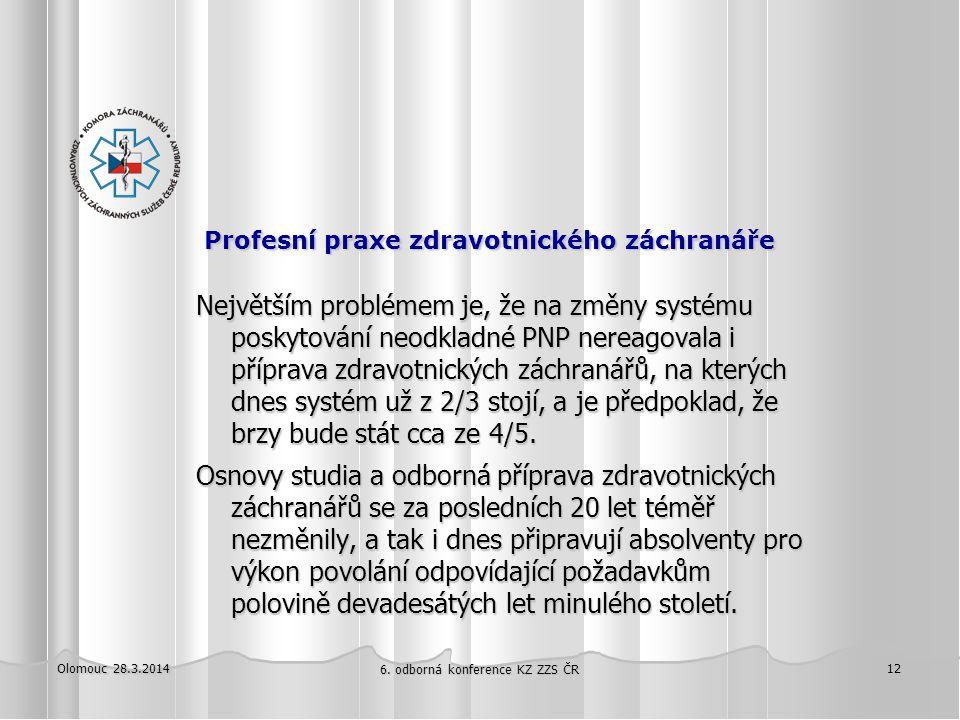 Olomouc 28.3.2014 6. odborná konference KZ ZZS ČR 12 Profesní praxe zdravotnického záchranáře Profesní praxe zdravotnického záchranáře Největším probl