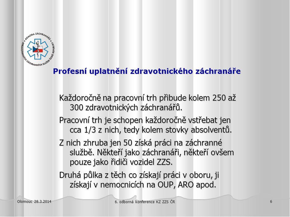 Olomouc 28.3.2014 6. odborná konference KZ ZZS ČR 6 Profesní uplatnění zdravotnického záchranáře Profesní uplatnění zdravotnického záchranáře Každoroč