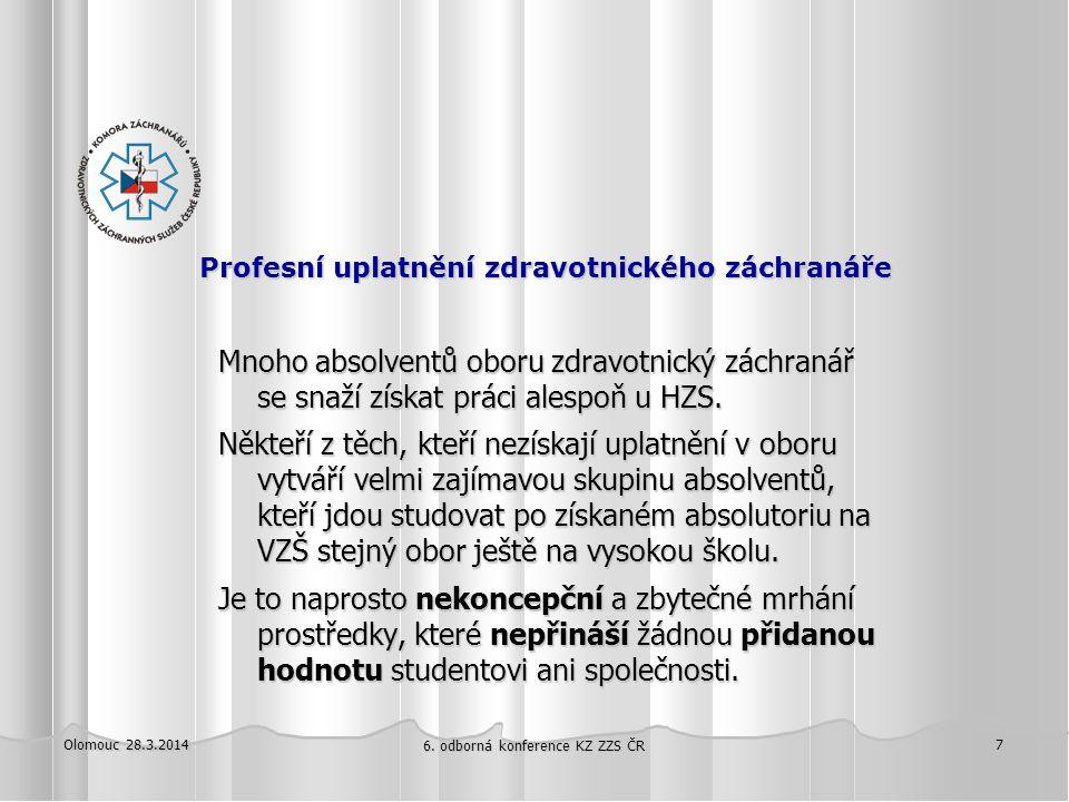 Olomouc 28.3.2014 6. odborná konference KZ ZZS ČR 7 Profesní uplatnění zdravotnického záchranáře Profesní uplatnění zdravotnického záchranáře Mnoho ab