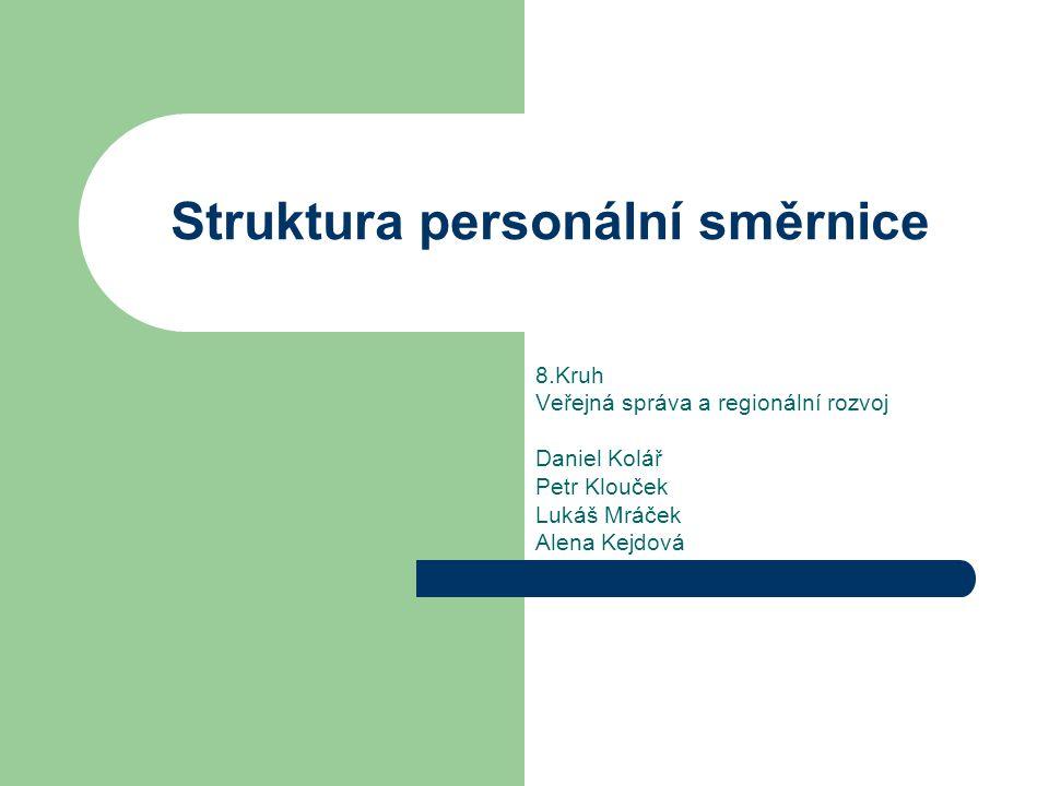 Struktura personální směrnice 8.Kruh Veřejná správa a regionální rozvoj Daniel Kolář Petr Klouček Lukáš Mráček Alena Kejdová