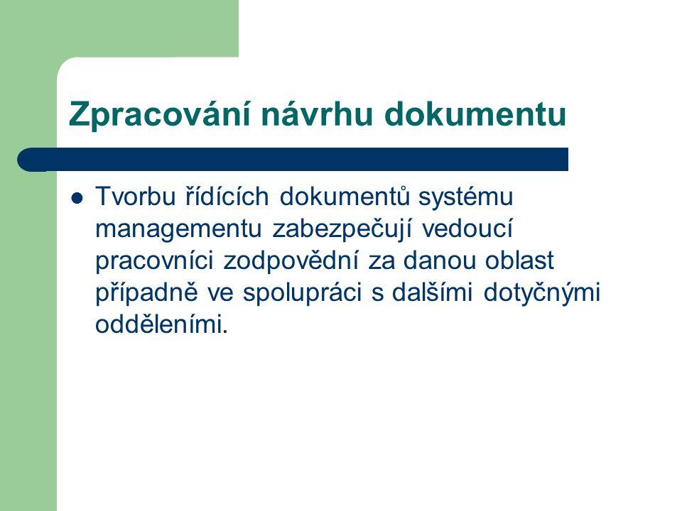 Zpracování návrhu dokumentu Tvorbu řídících dokumentů systému managementu zabezpečují vedoucí pracovníci zodpovědní za danou oblast případně ve spolup