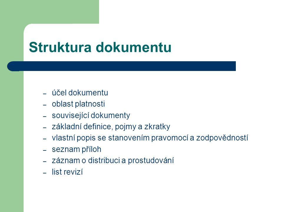 Struktura dokumentu – účel dokumentu – oblast platnosti – související dokumenty – základní definice, pojmy a zkratky – vlastní popis se stanovením pra