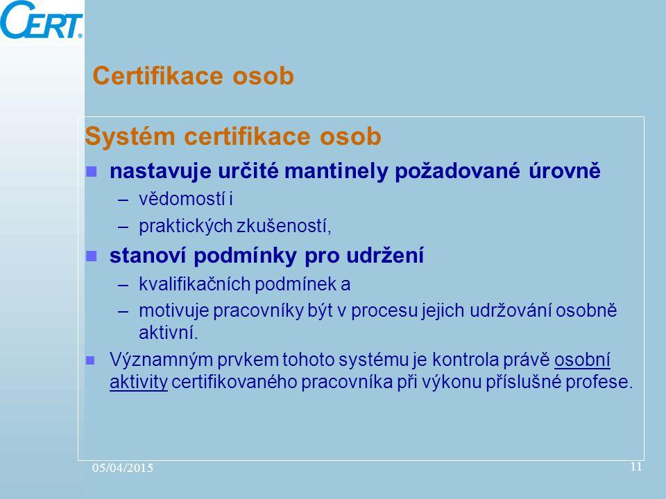 05/04/2015 11 Certifikace osob Systém certifikace osob nastavuje určité mantinely požadované úrovně –vědomostí i –praktických zkušeností, stanoví podm
