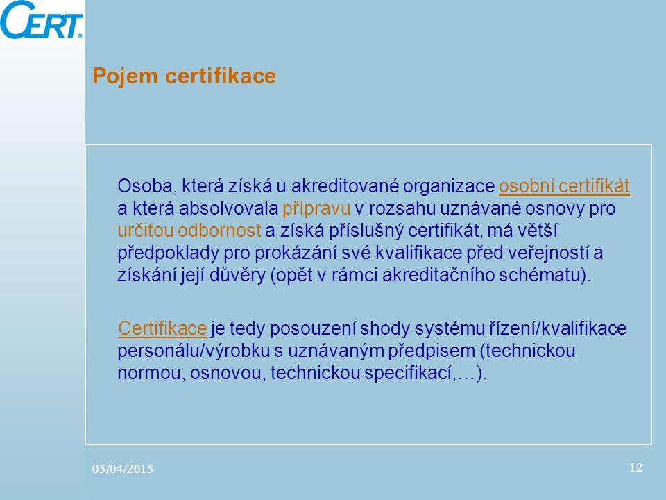 05/04/2015 12 Pojem certifikace Osoba, která získá u akreditované organizace osobní certifikát a která absolvovala přípravu v rozsahu uznávané osnovy