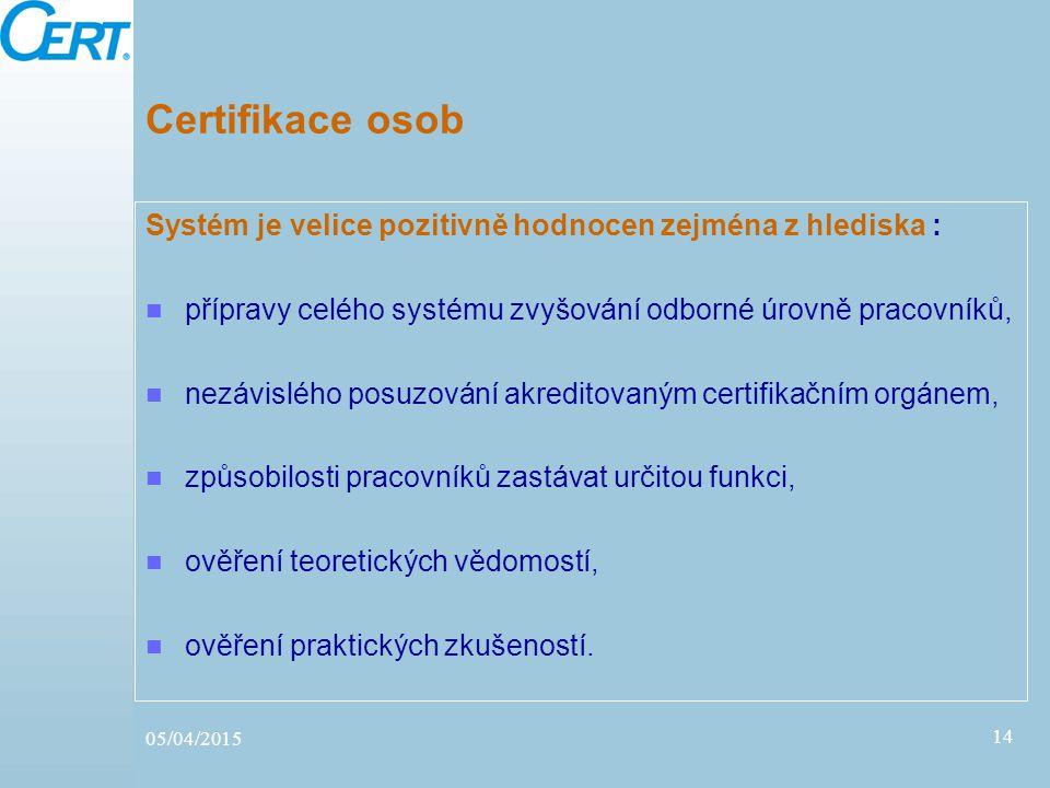 05/04/2015 14 Certifikace osob Systém je velice pozitivně hodnocen zejména z hlediska : přípravy celého systému zvyšování odborné úrovně pracovníků, n