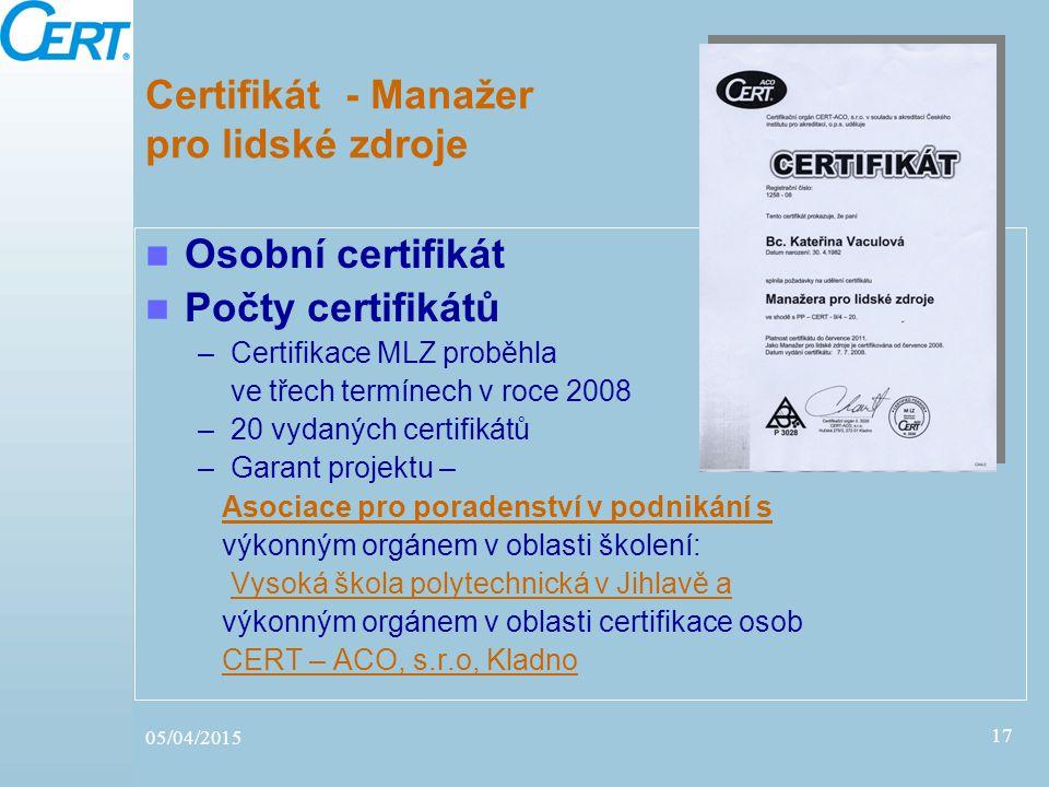 05/04/2015 17 Certifikát - Manažer pro lidské zdroje Osobní certifikát Počty certifikátů –Certifikace MLZ proběhla ve třech termínech v roce 2008 –20