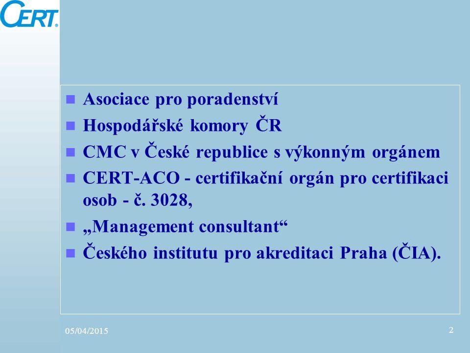 Asociace pro poradenství Hospodářské komory ČR CMC v České republice s výkonným orgánem CERT-ACO - certifikační orgán pro certifikaci osob - č. 3028,
