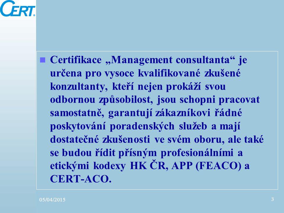 """Certifikace """"Management consultanta"""" je určena pro vysoce kvalifikované zkušené konzultanty, kteří nejen prokáží svou odbornou způsobilost, jsou schop"""