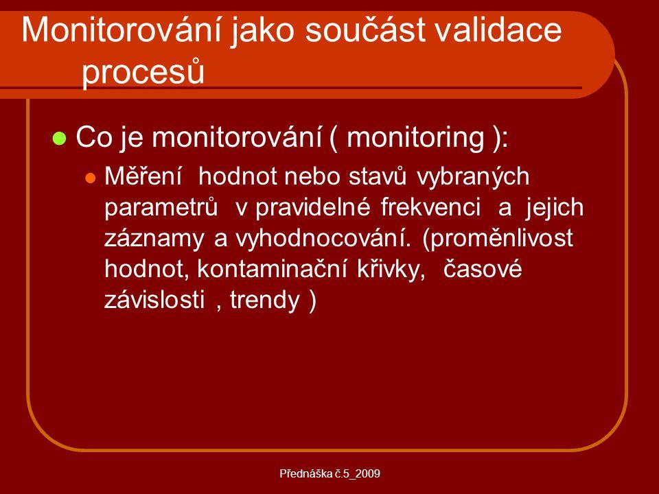 Přednáška č.5_2009 Monitorování jako součást validace procesů Co je monitorování ( monitoring ): Měření hodnot nebo stavů vybraných parametrů v pravid