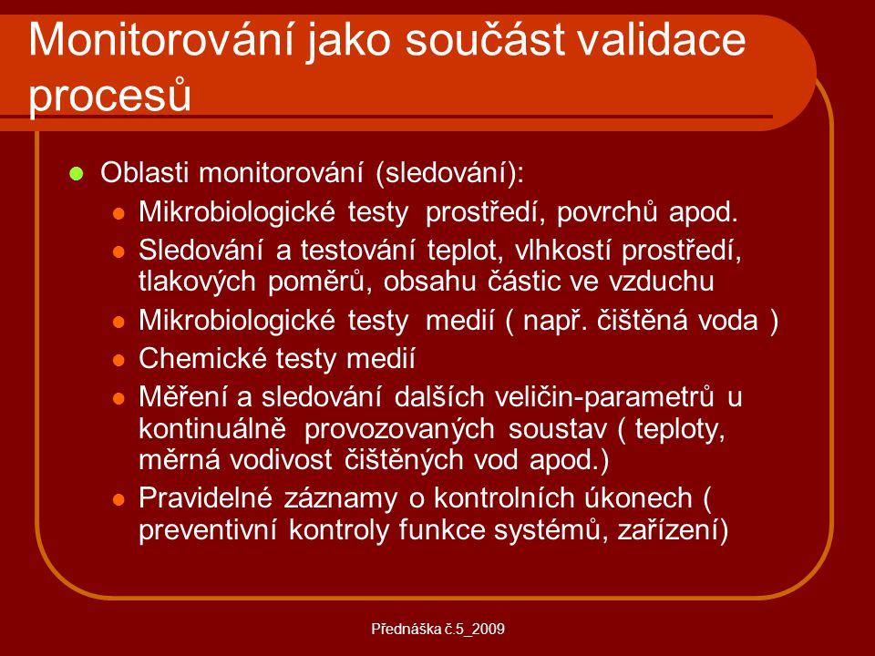 Přednáška č.5_2009 Monitorování jako součást validace procesů Oblasti monitorování (sledování): Mikrobiologické testy prostředí, povrchů apod. Sledová