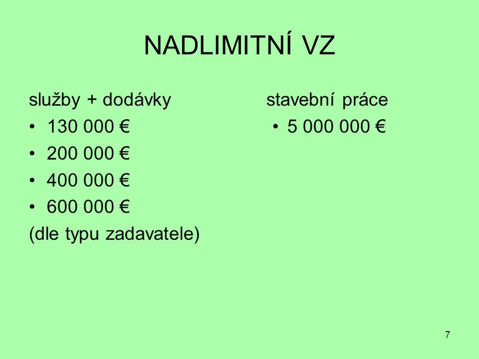 7 NADLIMITNÍ VZ služby + dodávky 130 000 € 200 000 € 400 000 € 600 000 € (dle typu zadavatele) stavební práce 5 000 000 €
