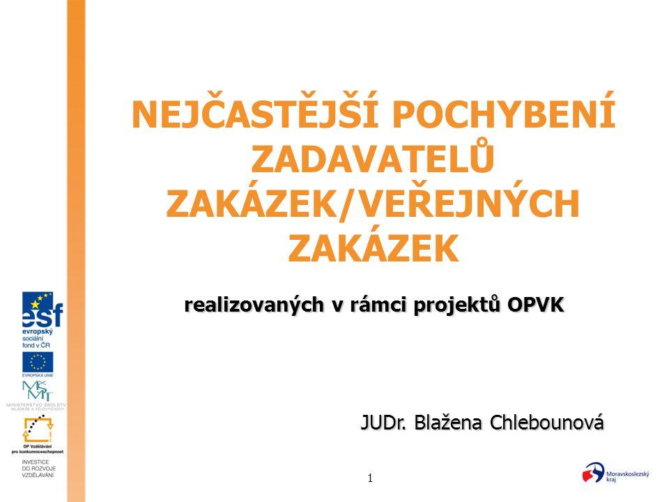 1 NEJČASTĚJŠÍ POCHYBENÍ ZADAVATELŮ ZAKÁZEK/VEŘEJNÝCH ZAKÁZEK realizovaných v rámci projektů OPVK JUDr. Blažena Chlebounová