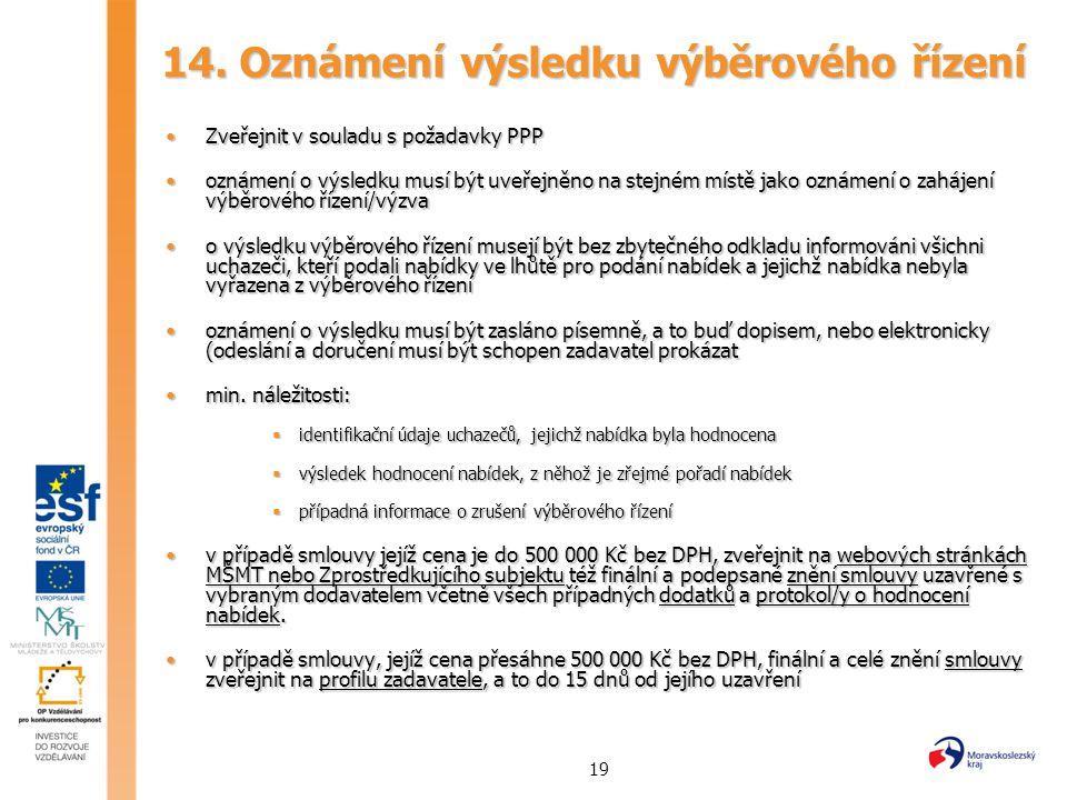 19 14. Oznámení výsledku výběrového řízení Zveřejnit v souladu s požadavky PPPZveřejnit v souladu s požadavky PPP oznámení o výsledku musí být uveřejn