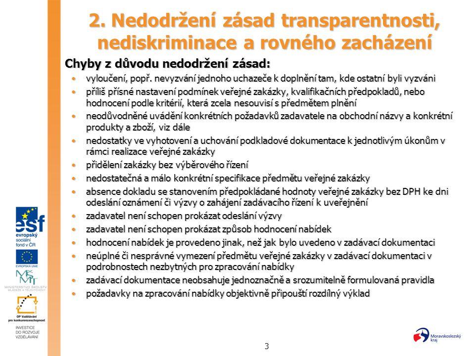 3 2. Nedodržení zásad transparentnosti, nediskriminace a rovného zacházení Chyby z důvodu nedodržení zásad: Chyby z důvodu nedodržení zásad: vyloučení
