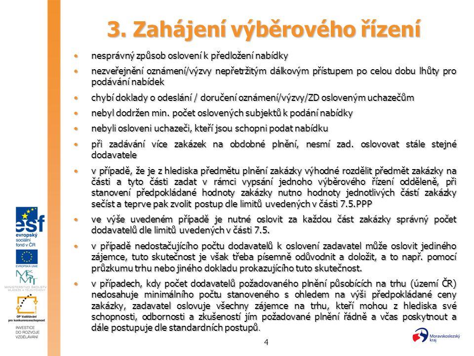 4 3. Zahájení výběrového řízení nesprávný způsob oslovení k předložení nabídkynesprávný způsob oslovení k předložení nabídky nezveřejnění oznámení/výz