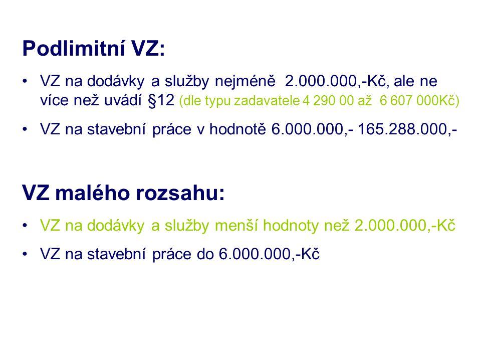 Podlimitní VZ: VZ na dodávky a služby nejméně 2.000.000,-Kč, ale ne více než uvádí §12 (dle typu zadavatele 4 290 00 až 6 607 000Kč) VZ na stavební pr
