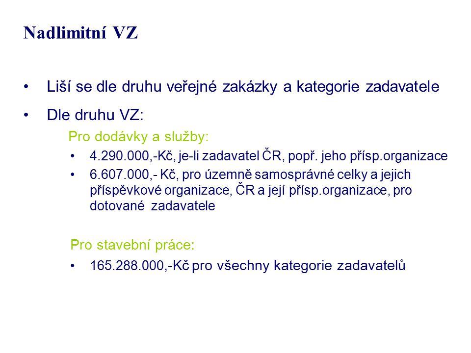 Nadlimitní VZ Liší se dle druhu veřejné zakázky a kategorie zadavatele Dle druhu VZ: Pro dodávky a služby: 4.290.000,-Kč, je-li zadavatel ČR, popř. je
