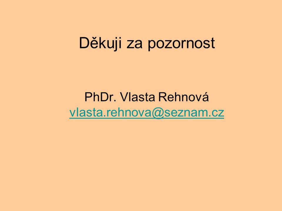 Děkuji za pozornost PhDr. Vlasta Rehnová vlasta.rehnova@seznam.cz vlasta.rehnova@seznam.cz