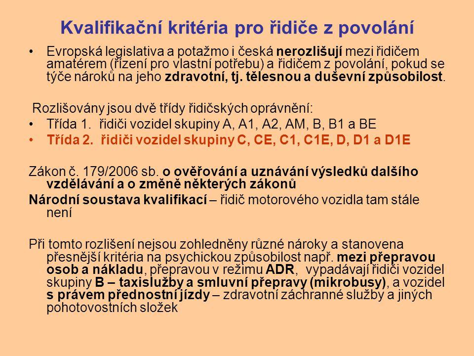 Kvalifikační kritéria pro řidiče z povolání Evropská legislativa a potažmo i česká nerozlišují mezi řidičem amatérem (řízení pro vlastní potřebu) a řidičem z povolání, pokud se týče nároků na jeho zdravotní, tj.