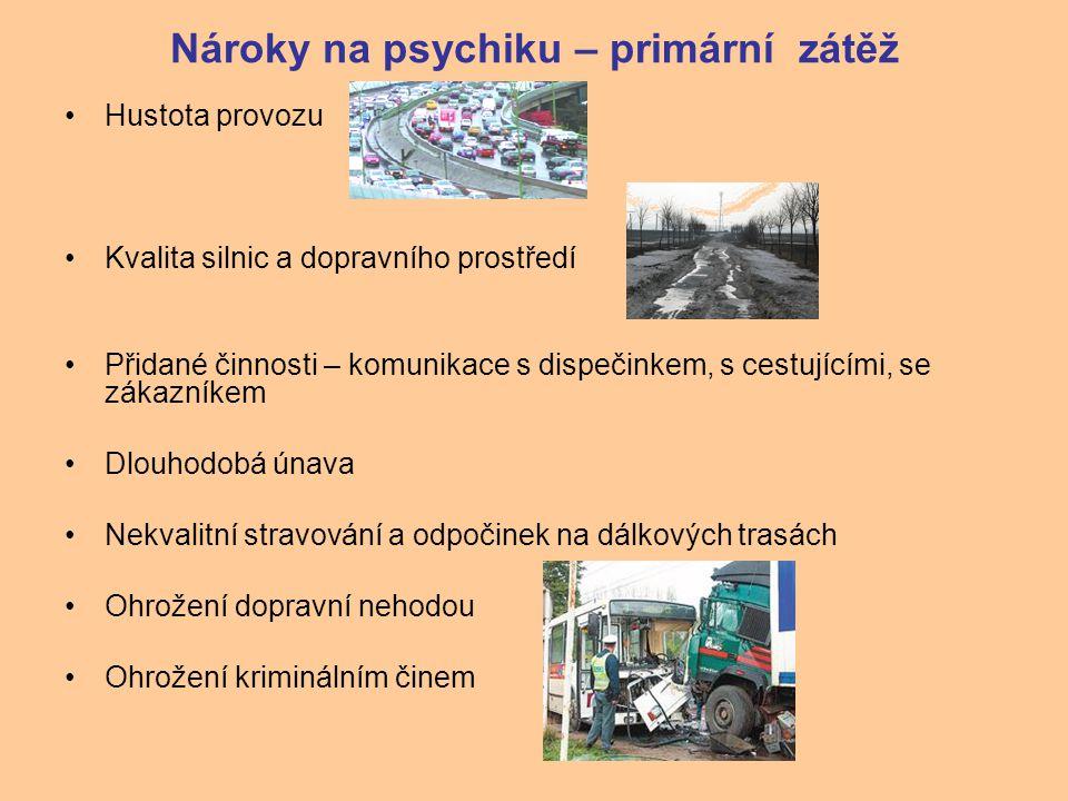 Nároky na psychiku – primární zátěž Hustota provozu Kvalita silnic a dopravního prostředí Přidané činnosti – komunikace s dispečinkem, s cestujícími,