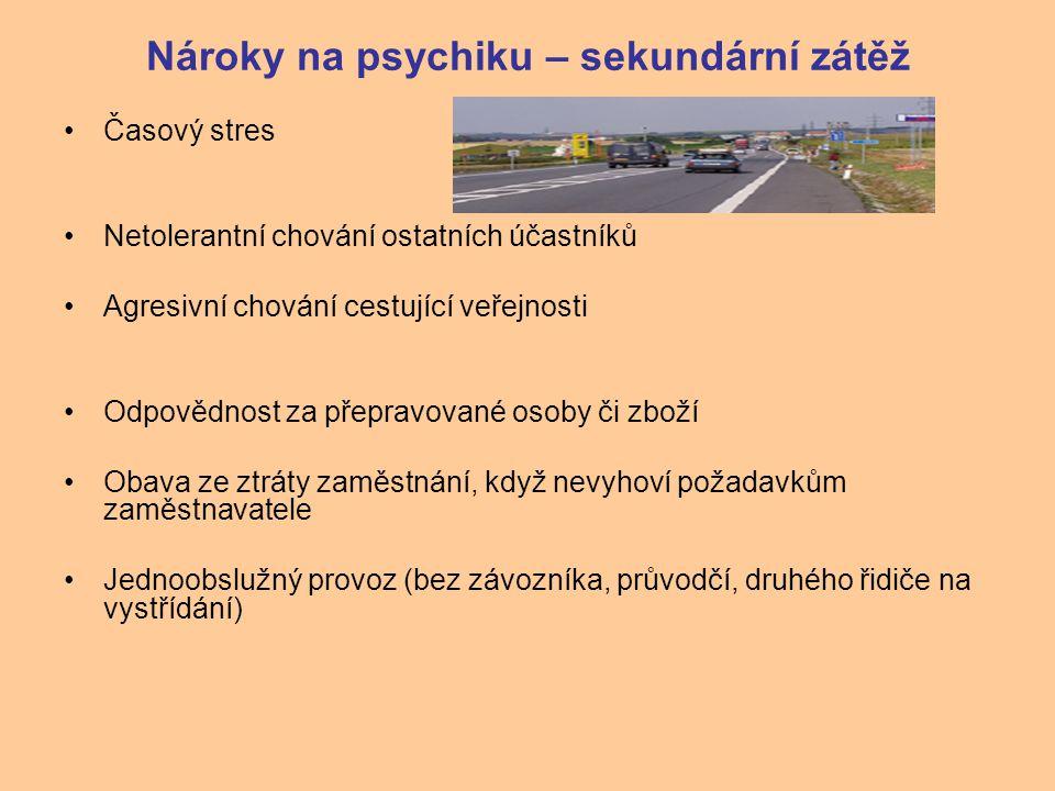 Nároky na psychiku – sekundární zátěž Časový stres Netolerantní chování ostatních účastníků Agresivní chování cestující veřejnosti Odpovědnost za přep