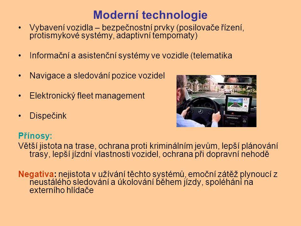 Moderní technologie Vybavení vozidla – bezpečnostní prvky (posilovače řízení, protismykové systémy, adaptivní tempomaty) Informační a asistenční systé