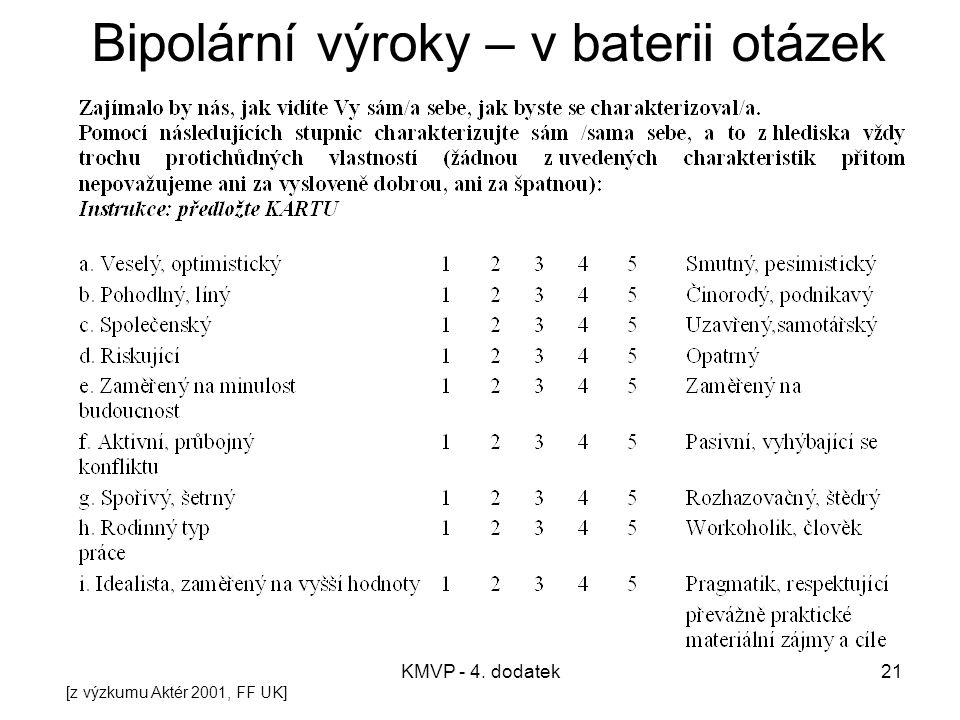 KMVP - 4. dodatek21 Bipolární výroky – v baterii otázek [z výzkumu Aktér 2001, FF UK]
