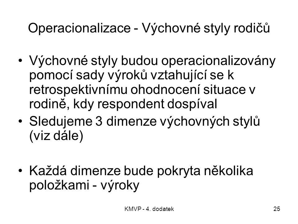 KMVP - 4. dodatek25 Operacionalizace - Výchovné styly rodičů Výchovné styly budou operacionalizovány pomocí sady výroků vztahující se k retrospektivní
