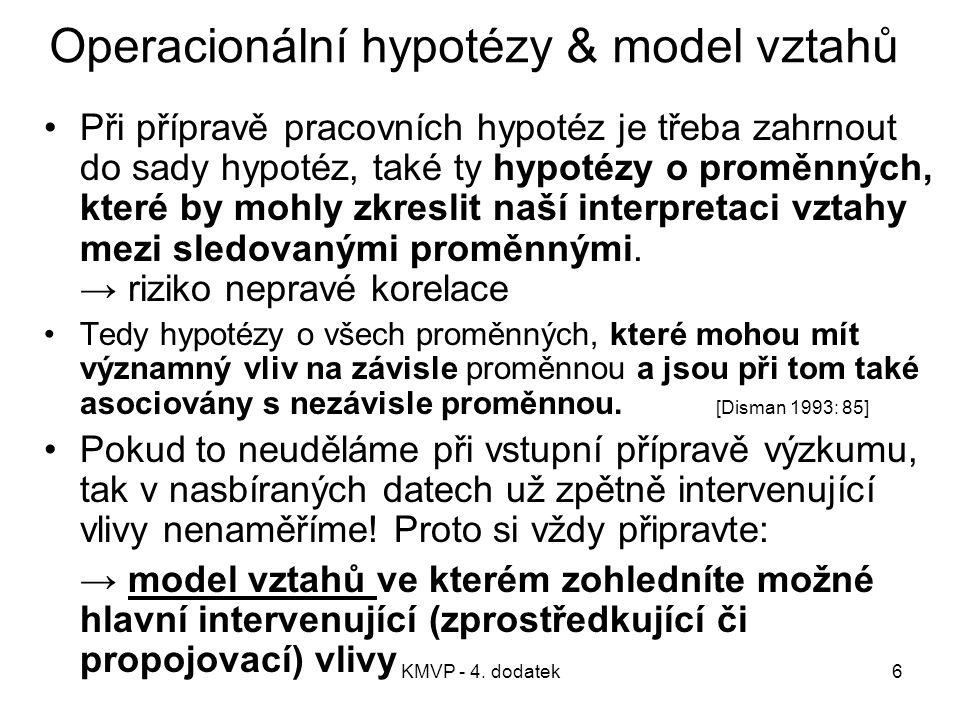 KMVP - 4. dodatek6 Operacionální hypotézy & model vztahů Při přípravě pracovních hypotéz je třeba zahrnout do sady hypotéz, také ty hypotézy o proměnn