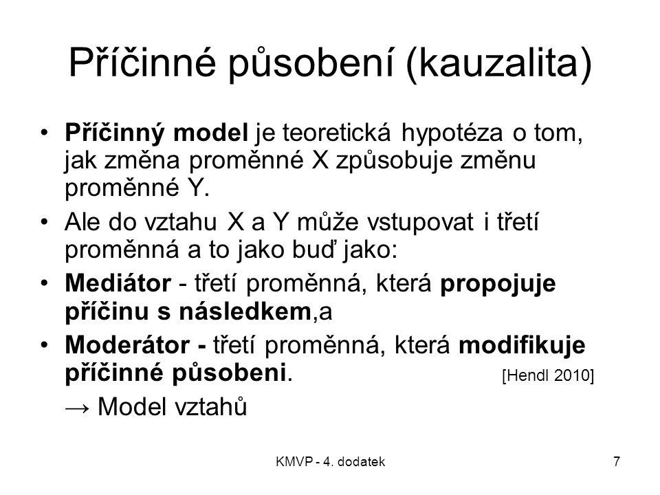KMVP - 4. dodatek7 Příčinné působení (kauzalita) Příčinný model je teoretická hypotéza o tom, jak změna proměnné X způsobuje změnu proměnné Y. Ale do