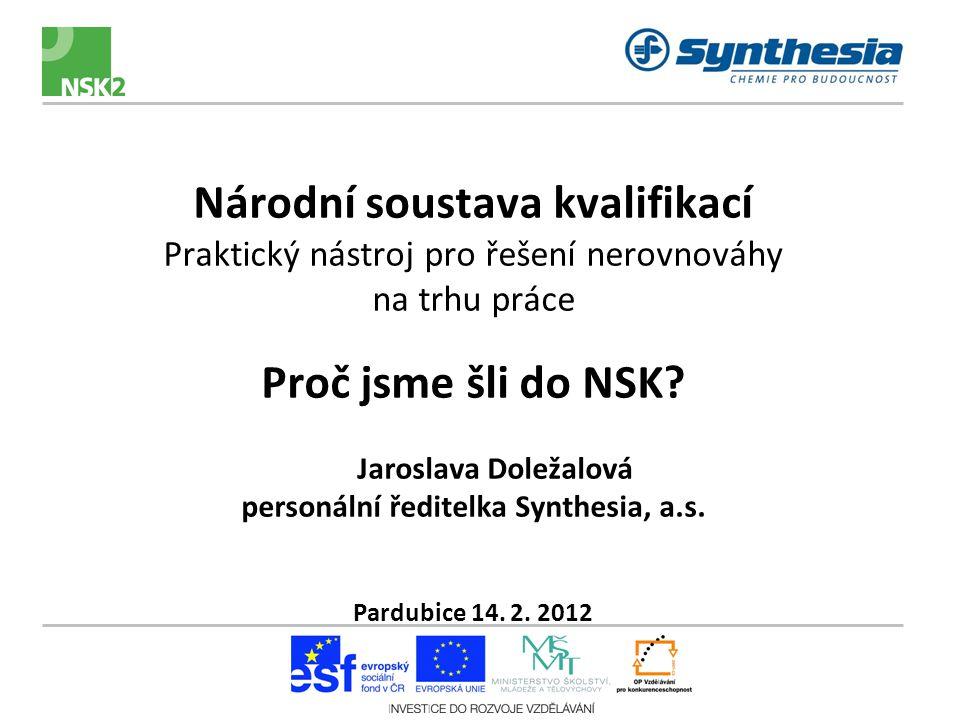 Národní soustava kvalifikací Praktický nástroj pro řešení nerovnováhy na trhu práce Proč jsme šli do NSK.