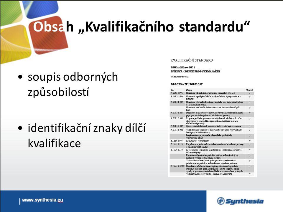 """Obsah """"Kvalifikačního standardu soupis odborných způsobilostí identifikační znaky dílčí kvalifikace"""