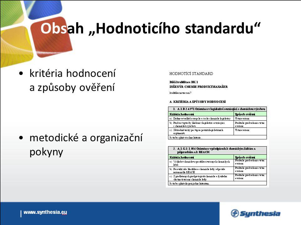 """Obsah """"Hodnoticího standardu kritéria hodnocení a způsoby ověření metodické a organizační pokyny"""