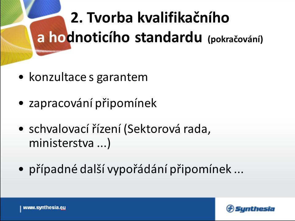 2. Tvorba kvalifikačního a hodnoticího standardu (pokračování) konzultace s garantem zapracování připomínek schvalovací řízení (Sektorová rada, minist