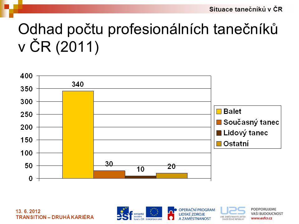 Situace tanečníků v ČR 13. 6. 2012 TRANSITION – DRUHÁ KARIÉRA Odhad počtu profesionálních tanečníků v ČR (2011)