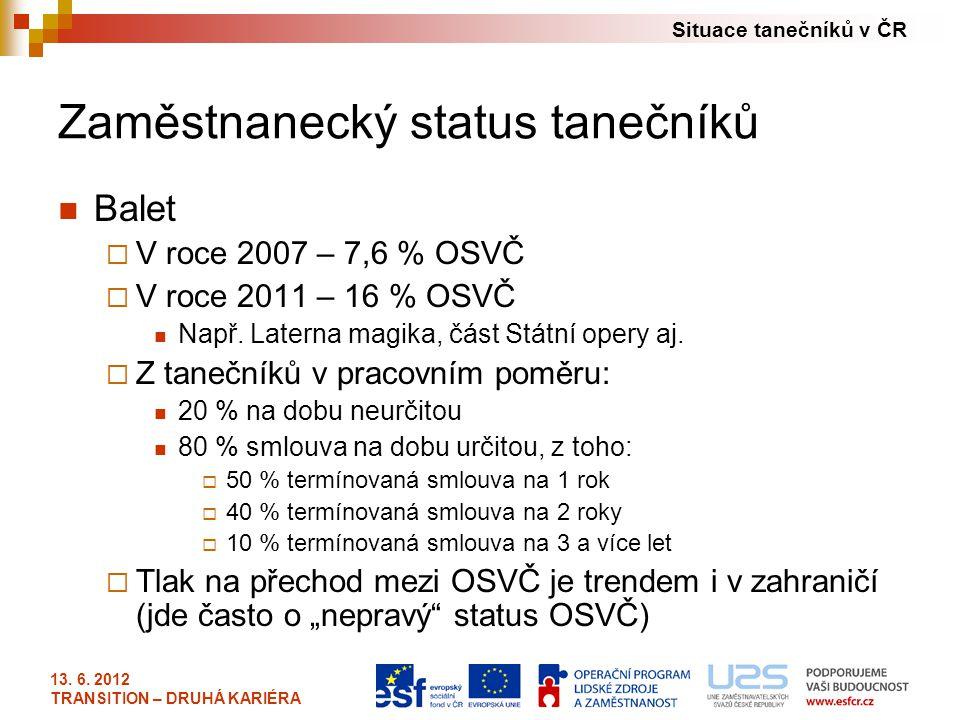 Situace tanečníků v ČR 13. 6. 2012 TRANSITION – DRUHÁ KARIÉRA Zaměstnanecký status tanečníků Balet  V roce 2007 – 7,6 % OSVČ  V roce 2011 – 16 % OSV