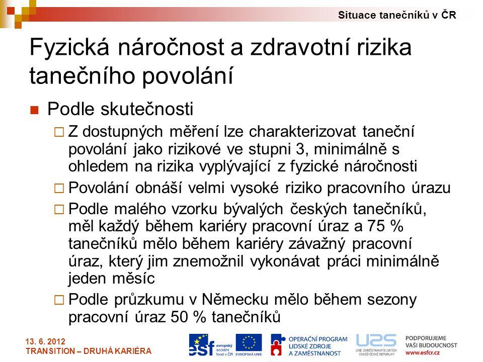 Situace tanečníků v ČR 13. 6. 2012 TRANSITION – DRUHÁ KARIÉRA Fyzická náročnost a zdravotní rizika tanečního povolání Podle skutečnosti  Z dostupných