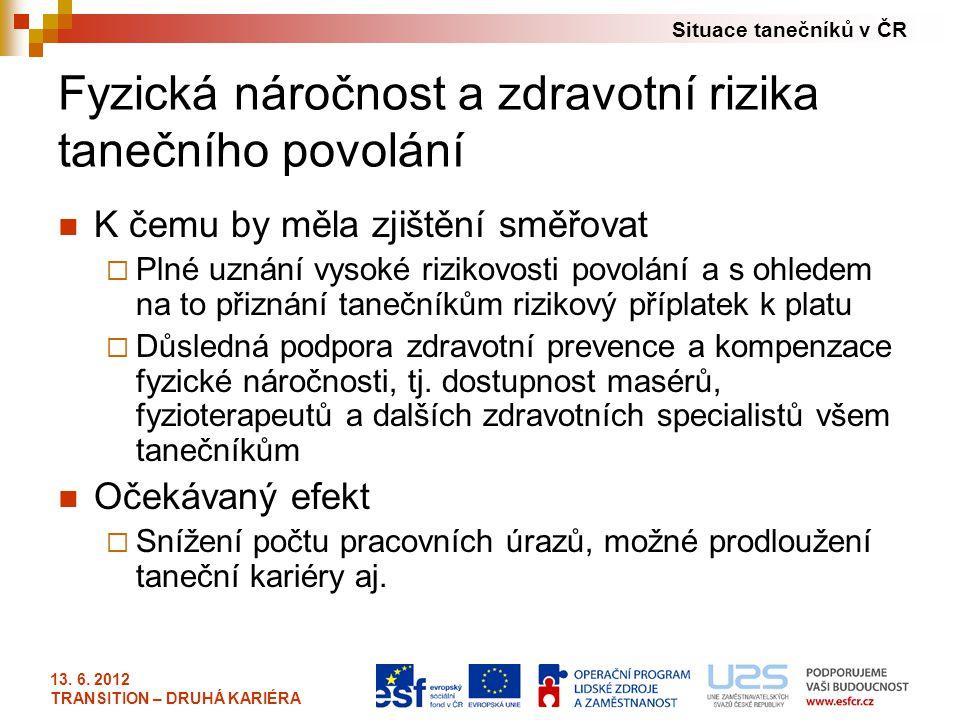 Situace tanečníků v ČR 13. 6. 2012 TRANSITION – DRUHÁ KARIÉRA Fyzická náročnost a zdravotní rizika tanečního povolání K čemu by měla zjištění směřovat