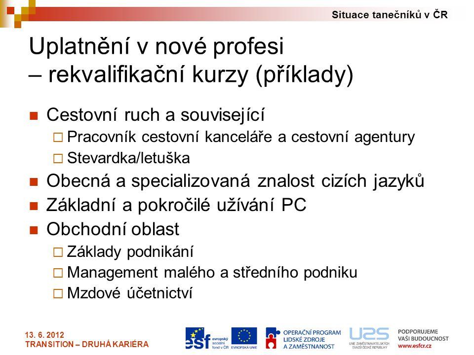Situace tanečníků v ČR 13. 6. 2012 TRANSITION – DRUHÁ KARIÉRA Uplatnění v nové profesi – rekvalifikační kurzy (příklady) Cestovní ruch a související 