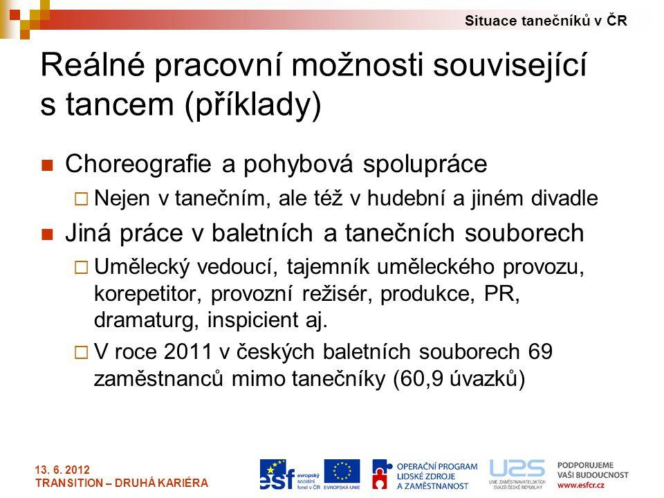 Situace tanečníků v ČR 13. 6. 2012 TRANSITION – DRUHÁ KARIÉRA Reálné pracovní možnosti související s tancem (příklady) Choreografie a pohybová spolupr